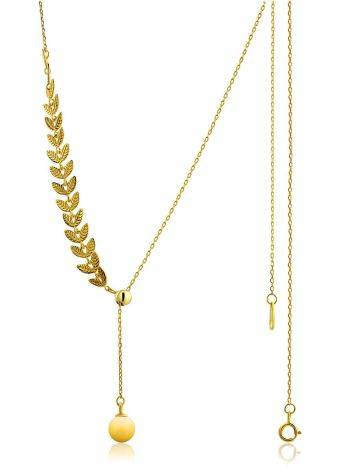 Leaf Motif Gilded Silver Amber Lariat Necklace The Palazzo, image , picture 6