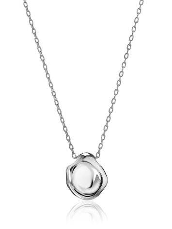 Sterling Silver Textured Disk Pendant Necklace The Liquid, image