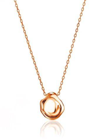 Rose Gold Plated on Sterling Silver Textured Disk Pendant Necklace The Liquid, image