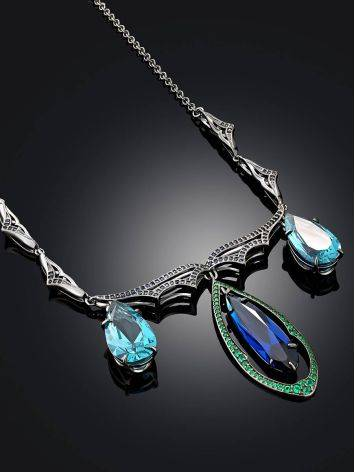 Fabulous Silver Necklace With Blue And Green Stones, image , picture 2