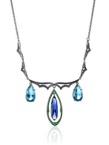 Fabulous Silver Necklace With Blue And Green Stones, image