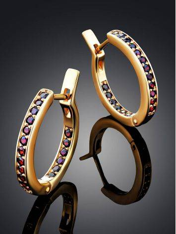 Chic Gilded Silver Garnet Hoops, image , picture 2