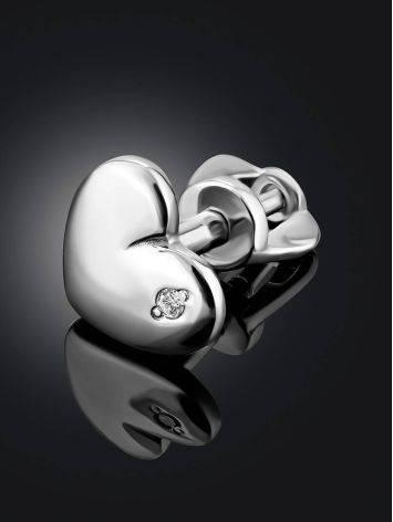 Silver Diamond Heart Shaped Mono Earring, image , picture 2