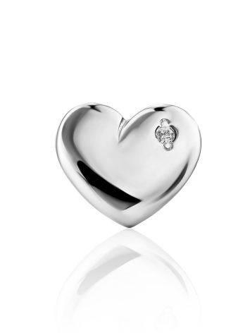 Silver Diamond Heart Shaped Mono Earring, image