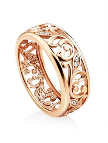 Ornate Gold Crystal Band Ring, Ring Size: 6.5 / 17, image