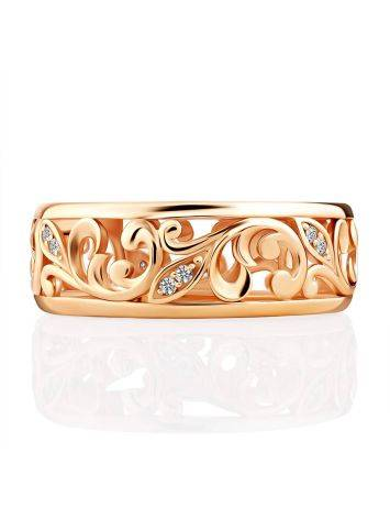 Ornate Gold Crystal Band Ring, Ring Size: 6.5 / 17, image , picture 4