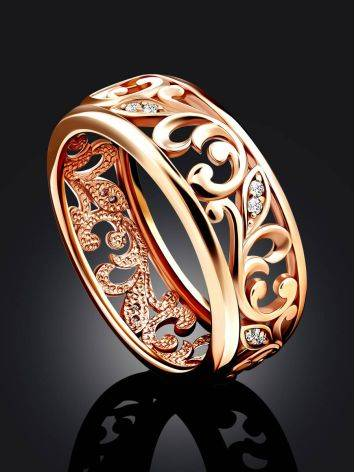 Ornate Gold Crystal Band Ring, Ring Size: 6.5 / 17, image , picture 2