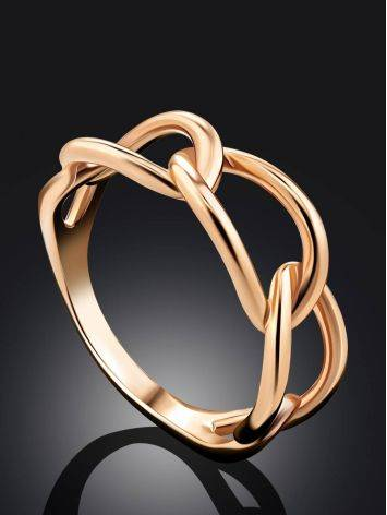 Trendy Golden Link Ring, Ring Size: 6 / 16.5, image , picture 2