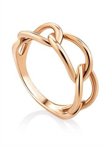 Trendy Golden Link Ring, Ring Size: 6 / 16.5, image