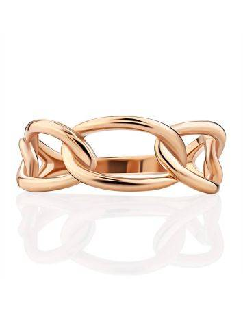 Trendy Golden Link Ring, Ring Size: 6 / 16.5, image , picture 4