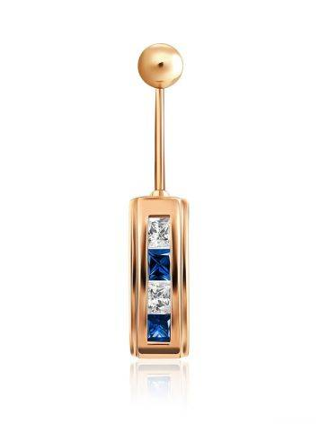 Geometric Design Gold Crystal Belly Button Ring, image
