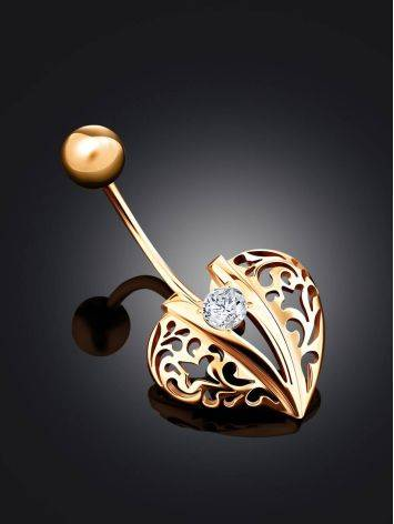 Leaf Motif Gold Crystal Belly Button Ring, image , picture 2