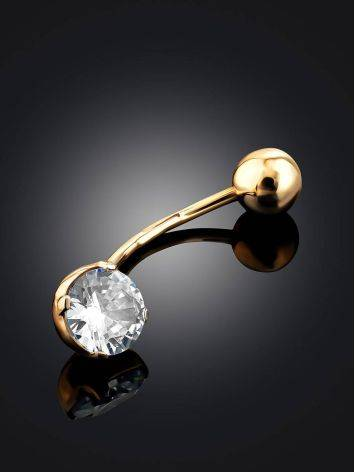 Simplistic Design Gold Crystal Navel Ring, image , picture 2