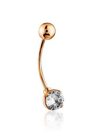 Simplistic Design Gold Crystal Navel Ring, image , picture 3