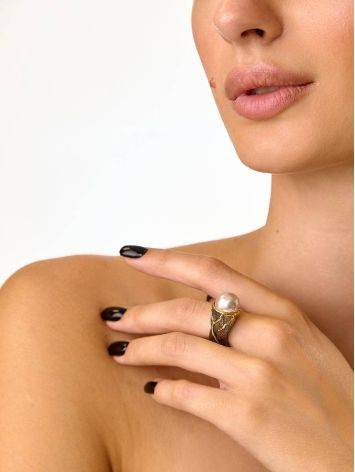 Impressive Silver Adjustable Ring With Nacre, Ring Size: Adjustable, image , picture 6