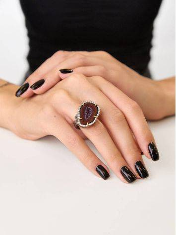Designer Silver Ring With Agate Geode And Crystals, Ring Size: Adjustable, image , picture 5