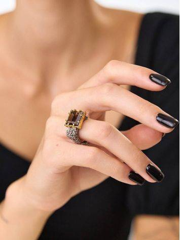 Geometric Designer Silver Ring With Smoky Quartz, Ring Size: 8 / 18, image , picture 5
