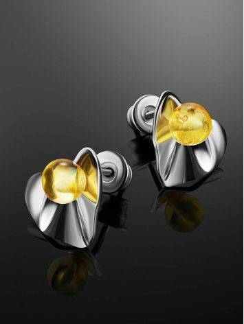 Laconic Design Silver Amber Stud Earrings The Palazzo, image , picture 2