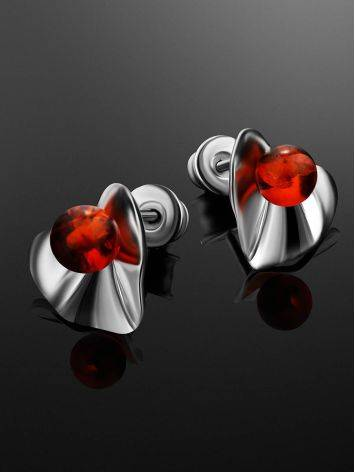 Bright Silver Amber Stud Earrings The Palazzo, image , picture 2