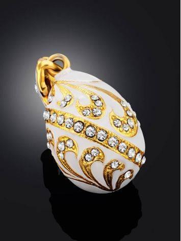 Fabulous White Enamel Egg Shaped Pendant The Romanov, image , picture 2