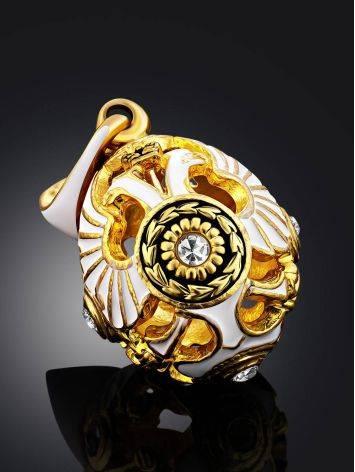 Imperial Style White Enamel Egg Pendant The Romanov, image , picture 2
