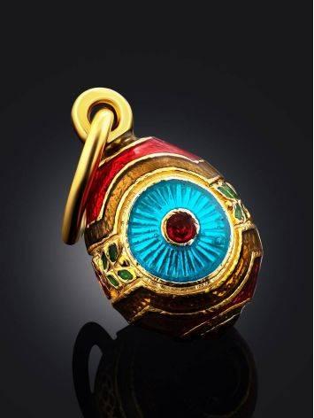 Bright Gilded Silver Enamel Egg Shaped Pendant The Romanov, image , picture 2