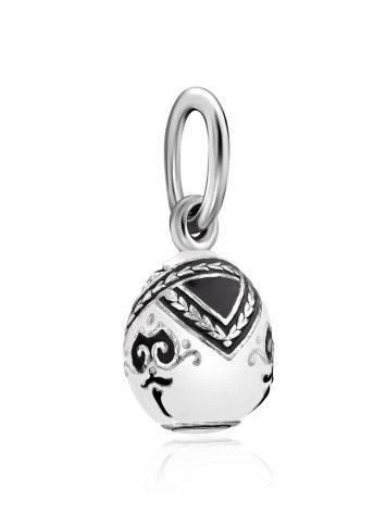 Tiny Silver Enamel Egg Pendant The Romanov, image , picture 4