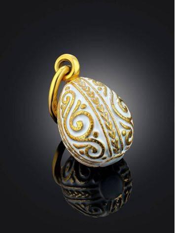 Ornate Gilded Silver Enamel Egg Shaped Pendant The Romanov, image , picture 2