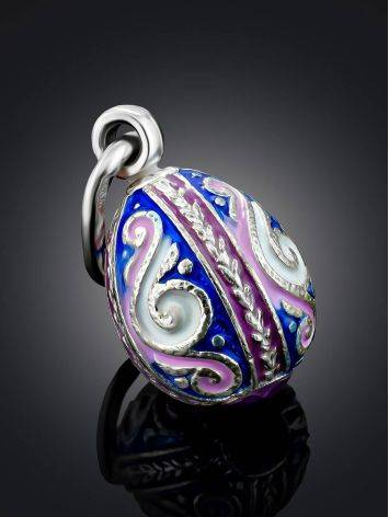 Ornate Silver Enamel Egg Shaped Pendant The Romanov, image , picture 2