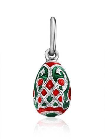 Tiny Silver Enamel Egg Shaped Pendant The Romanov, image