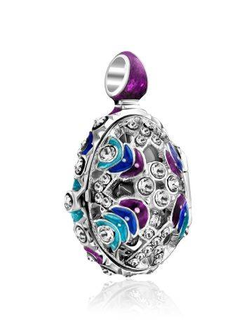 Whimsical Silver Enamel Locket Egg Pendant With Angel The Romanov, image , picture 4