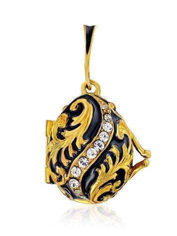 Leaf Motif Gilded Silver Enamel Locket Pendant With Tiny Enamel Butterfly The Romanov, image
