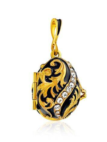 Leaf Motif Gilded Silver Enamel Locket Pendant With Tiny Enamel Butterfly The Romanov, image , picture 4