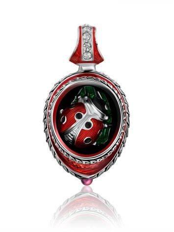 Whimsical Ladybird Motif Enamel Garnet Egg Pendant The Romanov, image