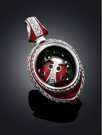 Whimsical Ladybird Motif Enamel Garnet Egg Pendant The Romanov, image , picture 2