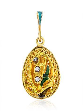 Fabulous Gilded Silver Enamel Egg Pendant With Crystals The Romanov, image