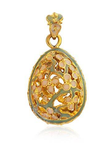 Floral Design Gilded Silver Egg Shaped Pendant The Romanov, image