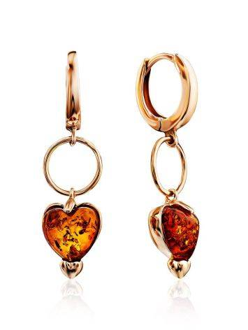 Rose Gold Plated Silver Earrings With Heart Shaped Amber Dangles The Palazzo, image
