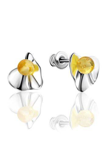 Laconic Design Silver Amber Stud Earrings The Palazzo, image