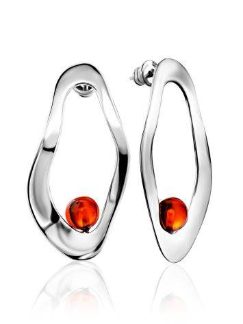 Abstract Design Silver Amber Earrings The Palazzo, image