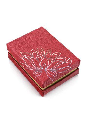 Floral Print Red Cardboard Gift Box, image