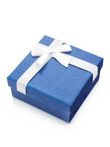 Blue Square Gift Box With White Ribbon, image