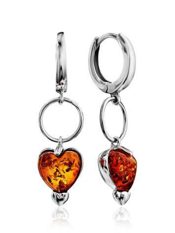 Silver Earrings With Heart Shaped Amber Dangles The Palazzo, image
