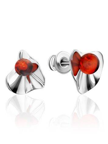 Bright Silver Amber Stud Earrings The Palazzo, image