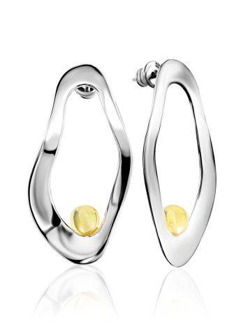 Glossy Silver Amber Earrings The Palazzo, image