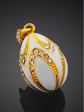 Chic Gilded Silver Enamel Egg Shaped Pendant The Romanov, image , picture 2