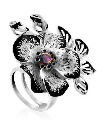 Floral Design Silver Adjustable Ring, Ring Size: Adjustable, image