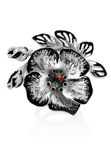 Floral Design Silver Adjustable Ring, Ring Size: Adjustable, image , picture 4