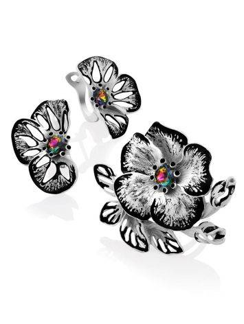 Floral Design Silver Adjustable Ring, Ring Size: Adjustable, image , picture 5