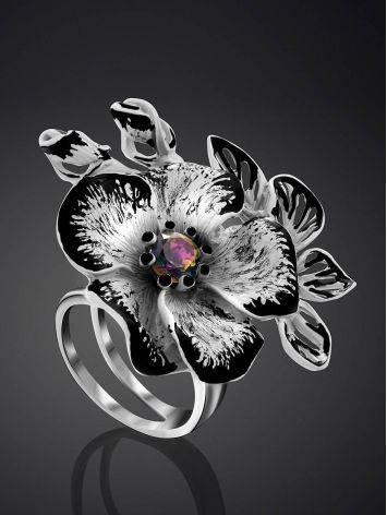 Floral Design Silver Adjustable Ring, Ring Size: Adjustable, image , picture 2